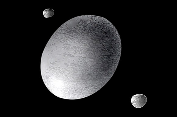 Haumea e as suas luas.