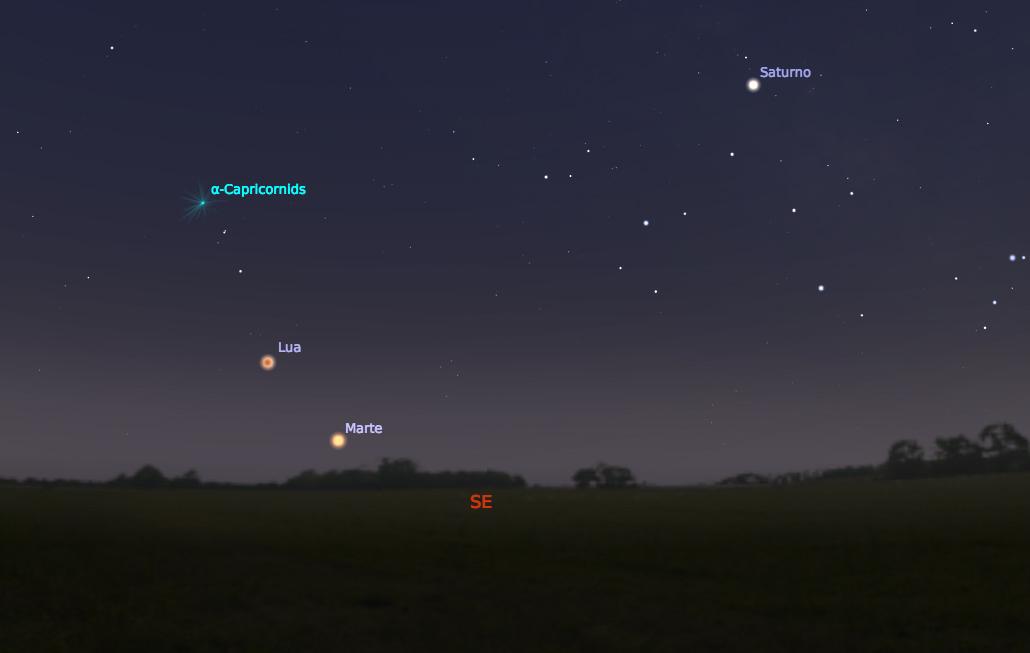 Eclipse Lunar Total e Marte no céu da noite de 27 de julho