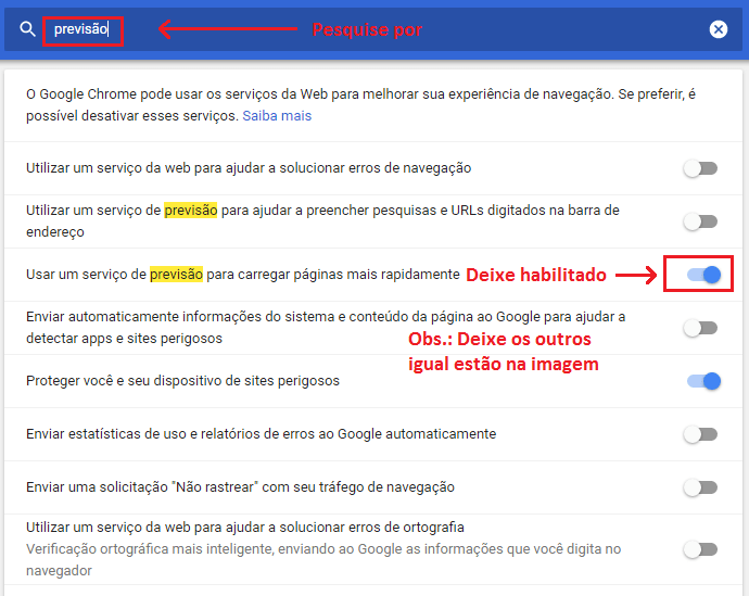 Desabilitar previsão do Chrome
