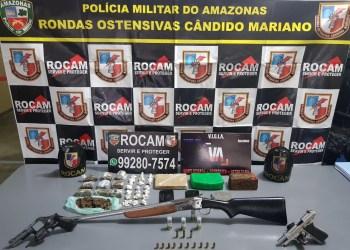 Polícia Militar detém casal por porte ilegal de arma de fogo, tráfico de drogas e receptação