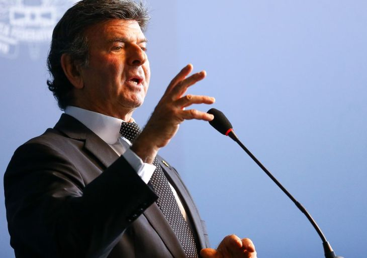 O ministro do Supremo Tribunal Federal, Luiz Fux, durante seminário para comemorar o Dia Internacional Contra a Corrupção.