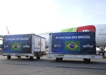 Insumo para 14 milhões de doses da CoronaVac desembarca em SP
