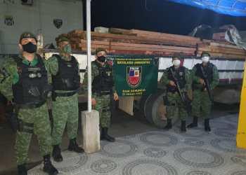 Polícia Militar apreende caminhão que transportava madeira ilegal na AM-010