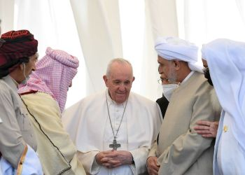 Pope Francis attends an inter-religious prayer at the ancient archeological site of Ur, traditionally believed to be the birthplace of Abraham, in Ur near Nassiriya, Iraq March 6, 2021.   Vatican Media/Handout via REUTERS    ATTENTION EDITORS - THIS IMAGE WAS PROVIDED BY A THIRD PARTY.