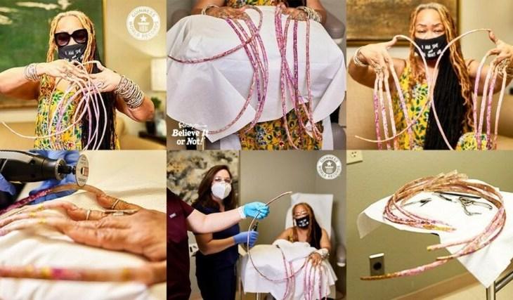 Após mais de 28 anos, mulher corta as maiores unhas do mundo