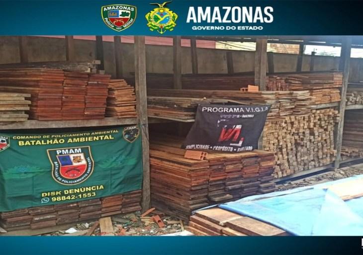 Em ações na capital, PMAM apreende carga de madeira e duas toneladas de pirarucu ilegais