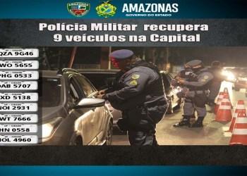 Em 24 horas, nove veículos com restrição de roubo ou furto são recuperados pela PMAM