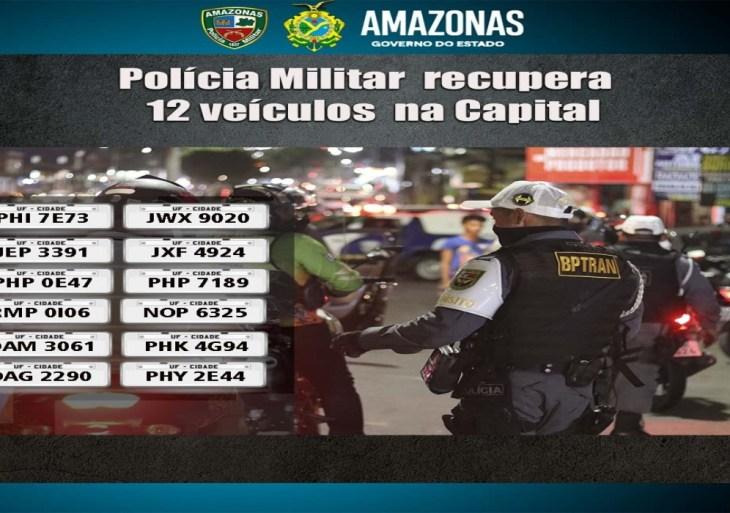 Polícia Militar recupera 12 veículos com restrição de roubo ou furto, no fim de semana