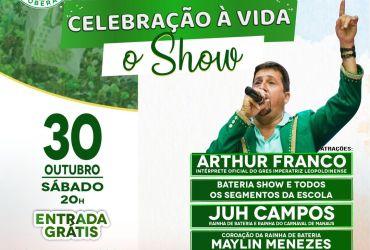 O GRES Mocidade Independente de Aparecida realiza evento 'Celebração à Vida: O Show' com entrada gratuita durante toda a noite