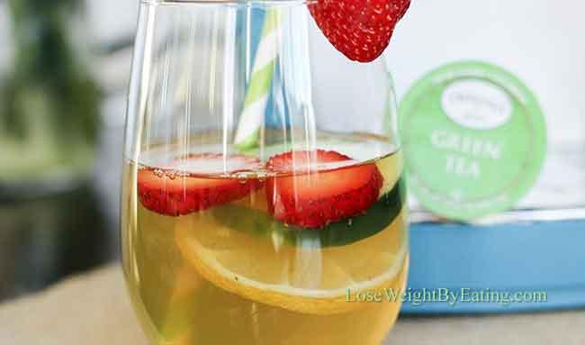 agua detox chá verde