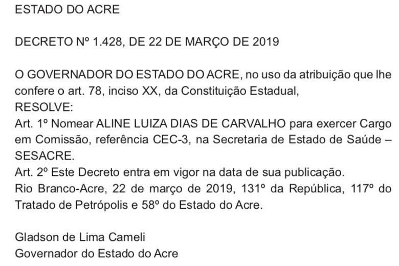 Chefe da representação do Acre em Brasília traz irmã de João Pessoa para empregar na Saúde do Estado