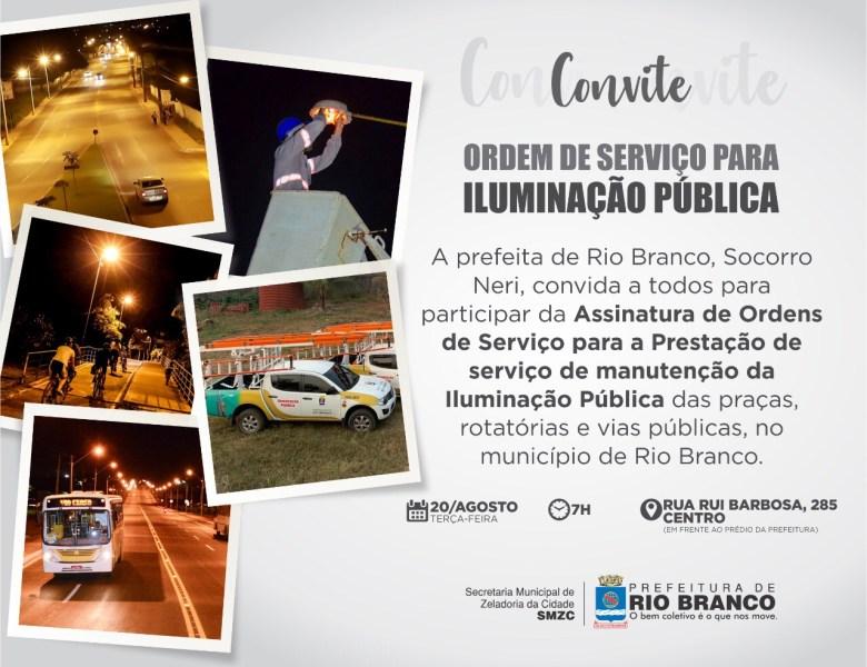 Socorro Neri assina ordem de serviço para manutenção da iluminação pública das praças, rotatórias e vias públicas, nesta terça