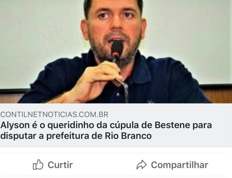 """""""Tudo que pesa é indigesto"""", diz esposa de Thiago Caetano sobre suposta candidatura de Alysson Bestene à prefeitura"""