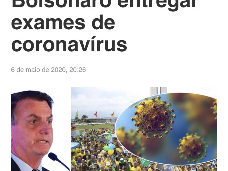 TRF-3 manda Bolsonaro entregar exames de coronavírus