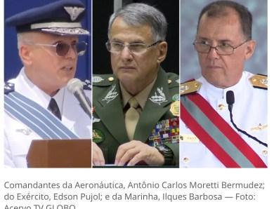 Ministério da Defesa anuncia saída dos comandantes das três Forças Armadas