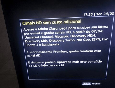 CANAIS HD CLARO