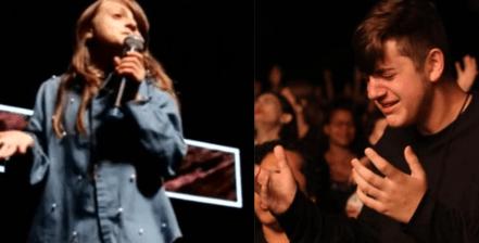 Filhos da cantora gospel Fernanda Brum chamam a atenção na igreja.