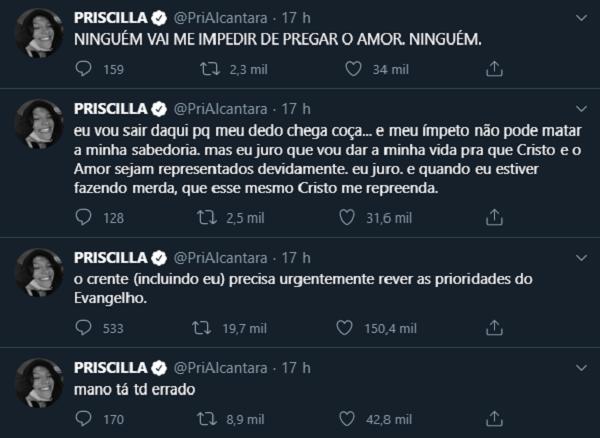 Cantora gospel Priscilla Alcantara dá sua opinião no Twitter.