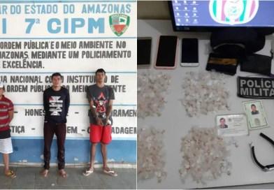 Polícia Militar prende três elementos com grande quantidade de droga em Presidente Figueiredo