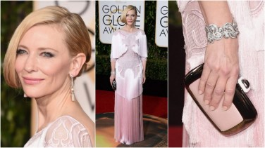 Cate Blanchett veste Givenchy, com joias da Tiffany