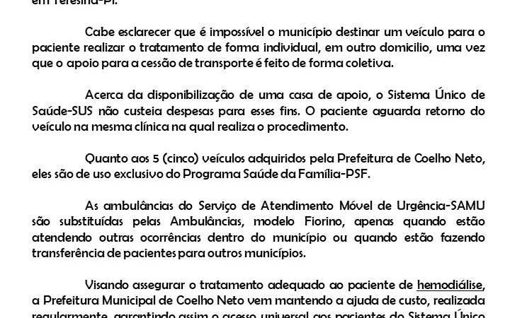 Após denúncia de vereador, Prefeitura se manifesta sobre transporte de pacientes a Teresina