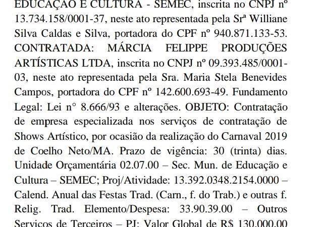 Que crise? Semec vai desembolsar R$ 130 mil para show  de Márcia Felipe em Coelho Neto