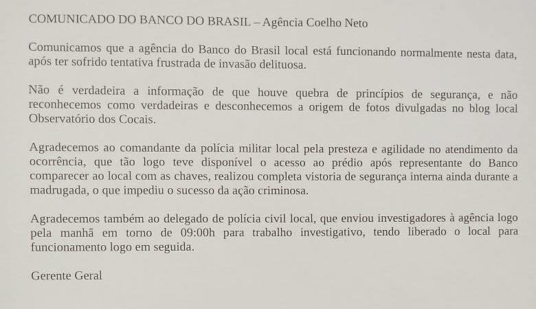 Agência do Banco do Brasil se manifesta após tentativa de assalto e assegura normalidade no atendimento