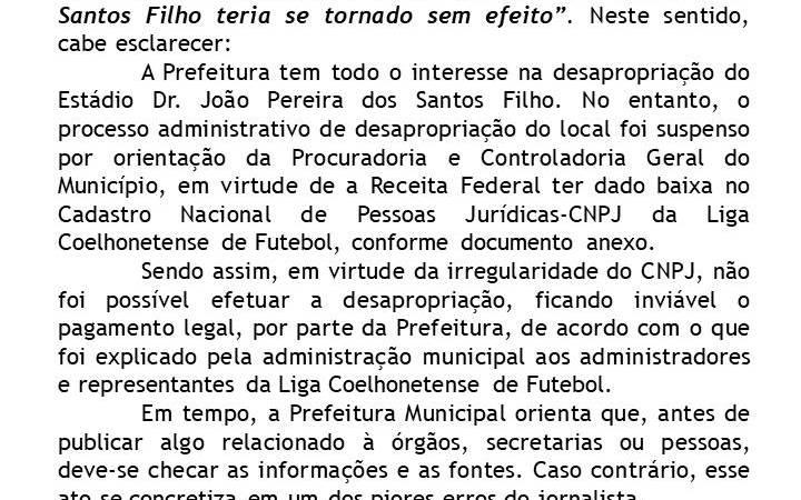 Em nota, Prefeitura de Coelho Neto confirma suspensão na compra de estádio por problemas de CNPJ