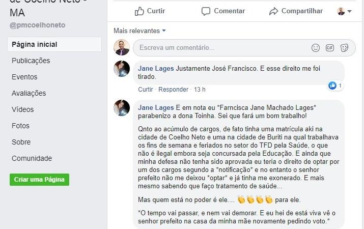 """Ex-coordenadora do Centro de Imagem de Coelho Neto explica demissão: """"ele ainda vai pedir voto na casa da minha mãe"""""""