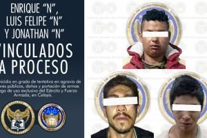 Tres sujetos son vinculados a proceso por homicidio, ataque a funcionarios y portación de armas