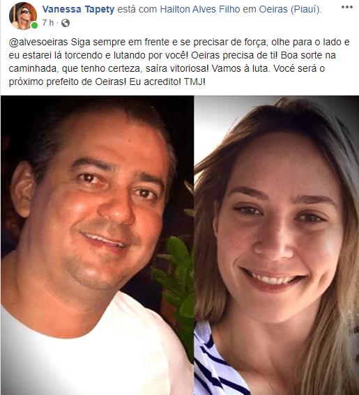 Vanessa Tapety declara apoio ao médico Hailton Alves, pré-candidato a prefeito de Oeiras 2