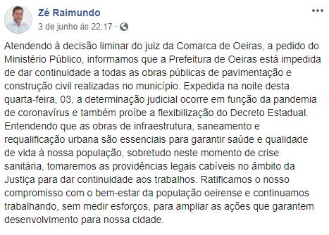 MP recomenda paralisação de obras da prefeitura de Oeiras por descumprimento de decreto municipal e estadual 2