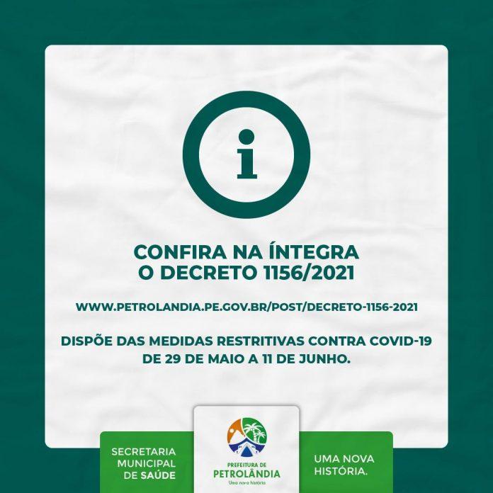 PETROLÂNDIA: Confira na íntegra o decreto que dispõe das medidas mais restritivas contra covid-19, de 29 de maio a 11 de junho