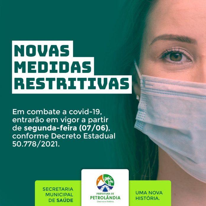 PETROLÂNDIA: Novas medidas restritivas para combate a Covid-19 regulamentadas pelo Decreto do Estado de Pernambuco (50.778/2021) começarão a vigorar na segunda (07)