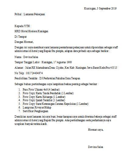 Contoh Surat Lamaran Kerja Ke Hotel : contoh, surat, lamaran, kerja, hotel, Contoh, Surat, Lamaran, Kerja, Tulis, Tangan, Simpel, Untuk, Umum,, Hotel, PortalKuningan.Com