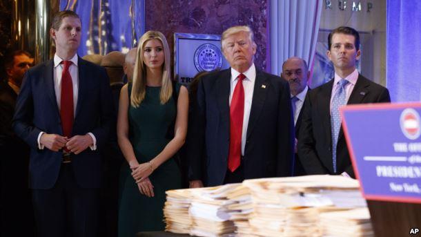 Filhos de Donald Trump vão gerir os negócios do pai