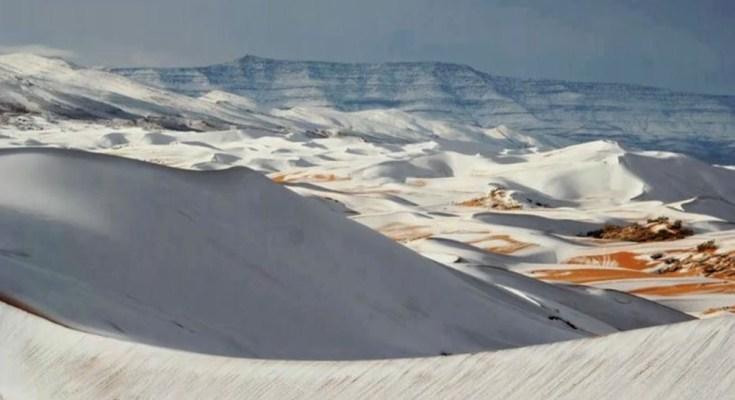 Fotografias tiradas no último domingo (7) na Argélia registraram um fenômeno raro: neve no deserto do Sahara, o mais quente do mundo.