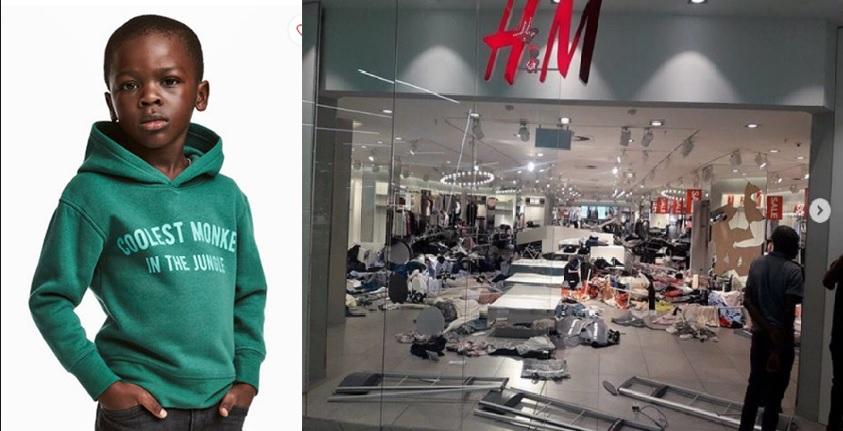 Um grupo de manifestantes vandalizou este sábado as lojas H & M em Sandton, Menlyn Park e East Rand na África do Sul,