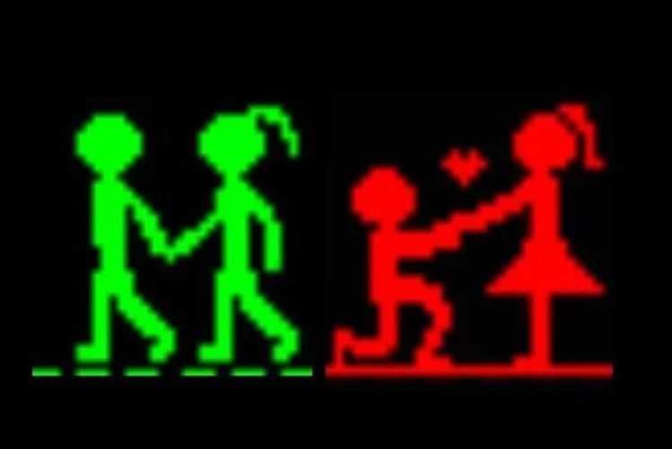 Este é o primeiro de 40 semáforos pedestres e tem como protagonista um casal de namorados. O pequeno boneco que nos diz se podemos passar a passadeira