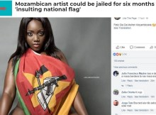 """O polémico ensaio fotográfico da cantora Yolanda Boa com bandeira nacional já é notícia no estrangeiro. O """"Africanews"""", editado em inglês e francês"""