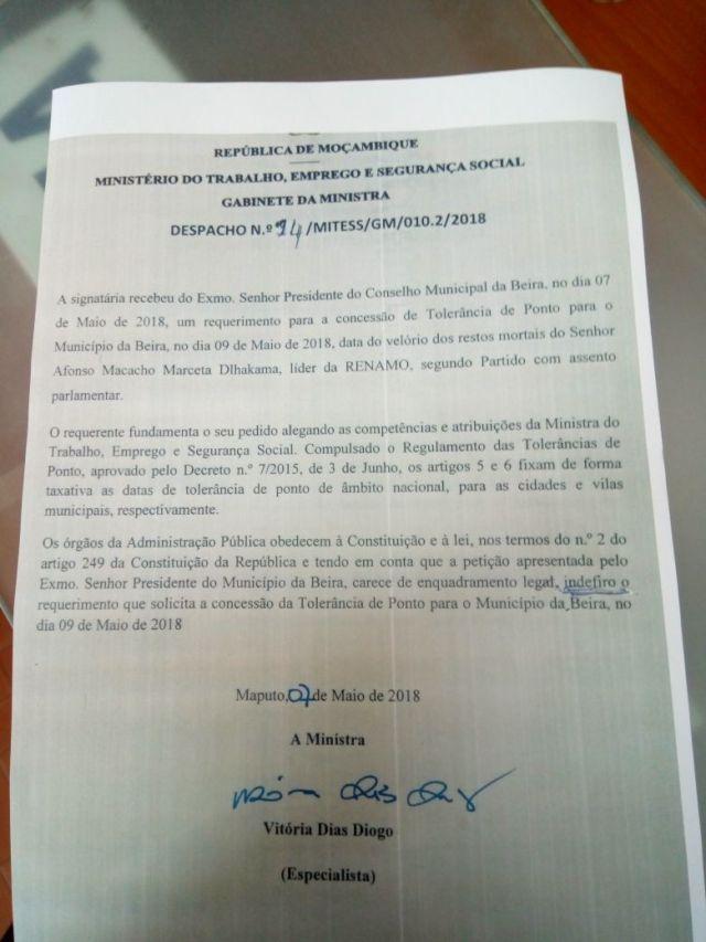 Governo rejeita pedido de tolerância para cidade da Beira para o velório de Dhalakama