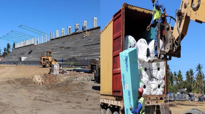 As obras do Estádio Municipal da Beira estão a decorrer num ritmo satisfatório, ontem 5 de Junho, desembarcou nesta urbe a relva sintética