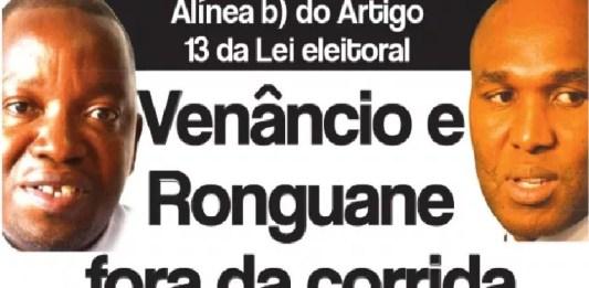 O Candidato da Renamo na cidade de Maputo, Venâncio Mondlane, está fora da corrida pelo Município de Maputo. Silvério Ronguane també está fora