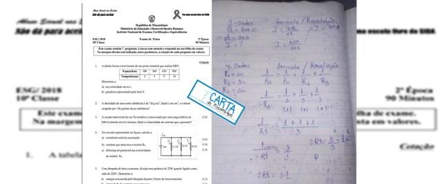 o exame de segunda época de Física, da Décima Classe