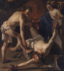 Prometheus being bound by Vulcan, painted by Dirck van Baburen