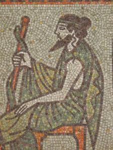 Asclepius - Fragment of mosaics in the Public Bath of Kyustendil. Author: Nikolai Zikov