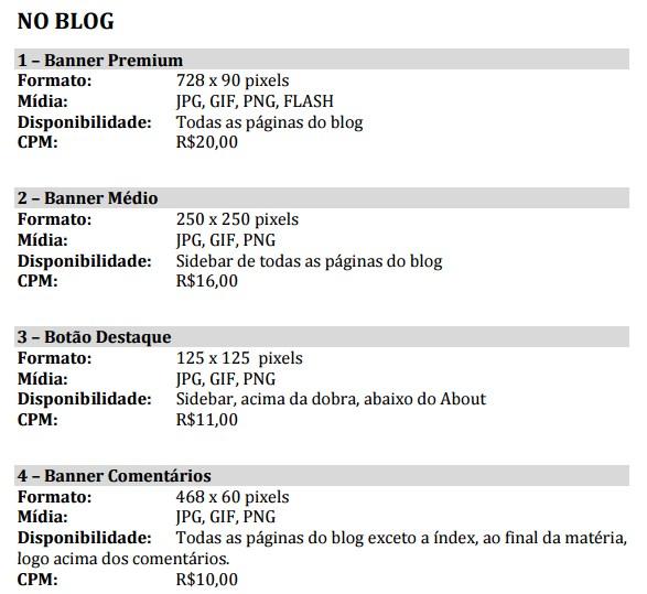 noBlog - Preços