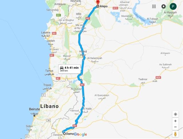 Mapa mostra distância entre Alepo, cidade onde moram os pais do Kaysar do BBB18 e Damasco, cidade atingida pelos ataques anunciados por Donald Trump (Reprodução/Google Maps)