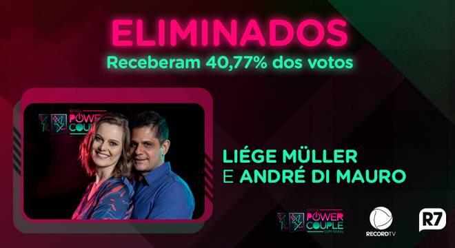 André e Liége foram eliminados do Power Couple Brasil 3 (Reprodução/Record)