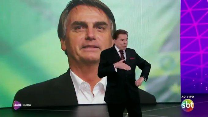 Silvio Santos entrevistou Bolsonaro no Teleton (Reprodução/SBT)